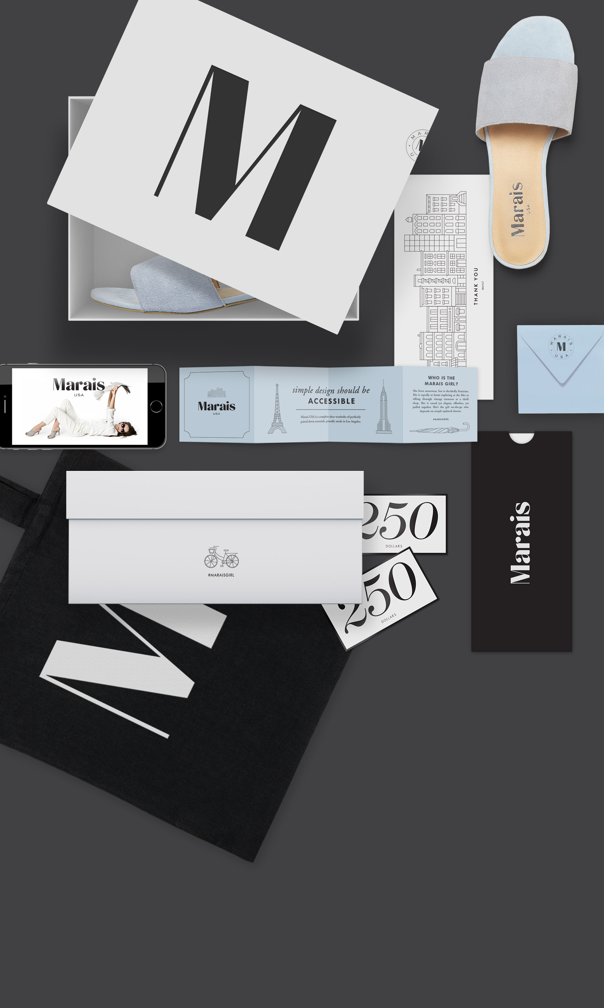 Marais logo and collateral designed by Scissor.