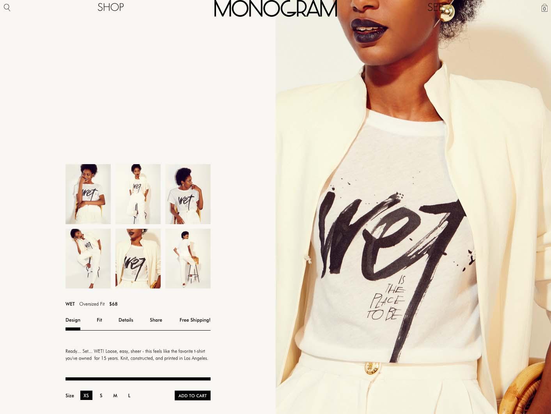 Monogram ecommerce design by Scissor.